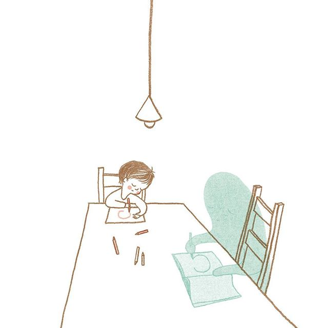 For me, drawing and writing have both always been very important - using them both as tools to express, revise, construct, negotiate and develop thoughts and feelings. ⠀Drawing can calm me down and writing helps me to think more clearly.⠀⠀This is one of the illustrations from the book, showing some of the few suggestions of what you can do with Sadness. As the book only has 12 spreads, I could only include a few suggestions from all the ideas I had and things I found during my research. Maybe I should find a place for all those others as well.⠀⠀Do you have a creative outlet? Does it help you to deal with difficult emotions? ⠀⠀'When Sadness Comes to Call' (@AndersenPress, out on January 3d). Pre-order link in bio.⠀⠀#WhenSadnessComesToCall #evaeland #picturebook #childrensbookillustration #childrensbooks #mentalhealth #mentalhealthawareness #childrensmentalhealth