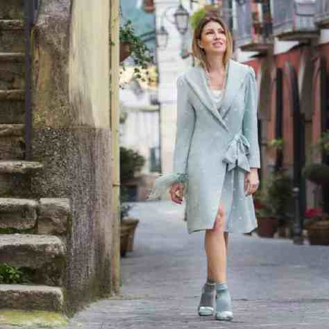 Cappotto lana donna fantasia pois ricamati