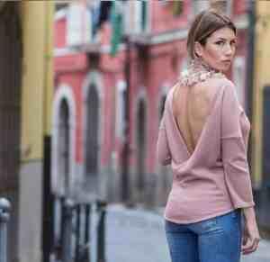 Maglioncino donna rosa incrociato