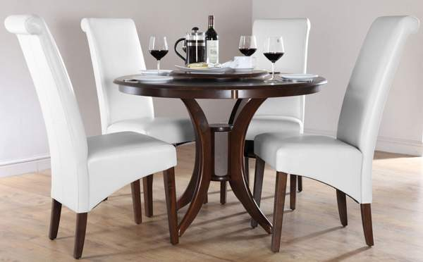 Luxury White Round Dining Table Set for 4