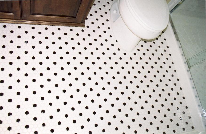 cheap unfinished kitchen cabinets log home islands hexagon black and white tile bathroom floor