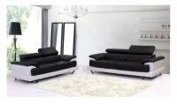 Black and White Bonded Leather Sofas for Living Room