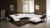 Black and White Leather Sectional Sofa for Modern Living Room