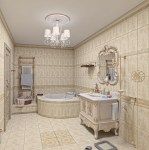 Elegant Luxury Master Bathroom with White and Gold Design Ideas