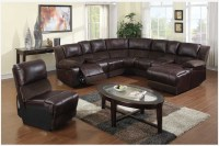 Leather Sectional Sofas with Round Glass Table