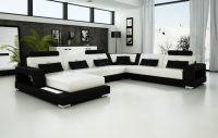 Black and White Leather Sofa Set for a Modern Living Room ...