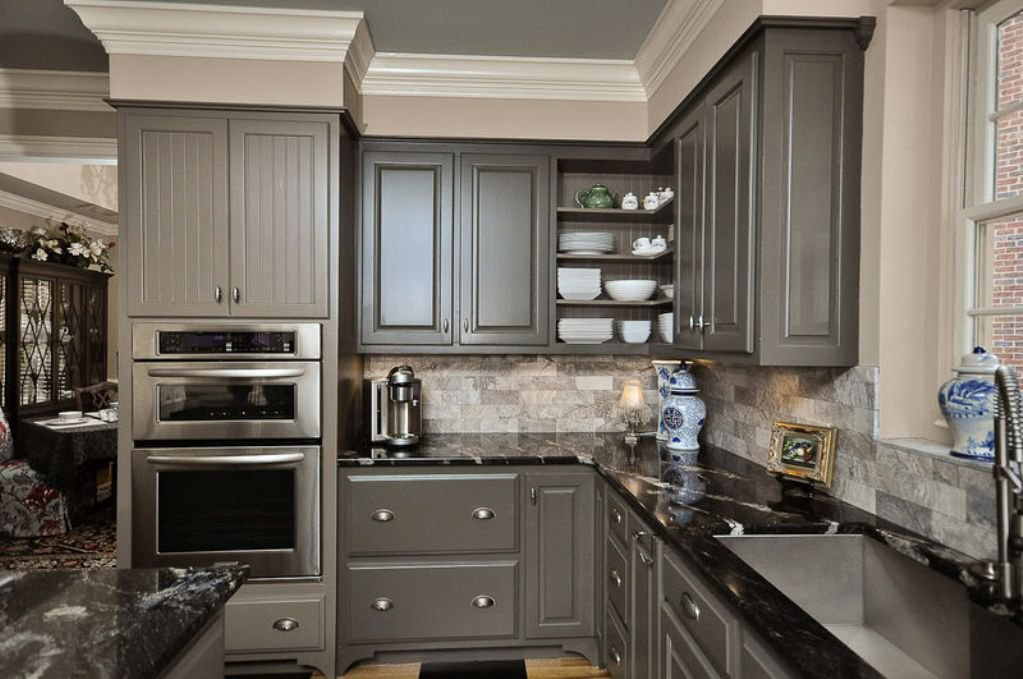 Grey Kitchen Cabinets With Patterned Black Granite Countertop EVA