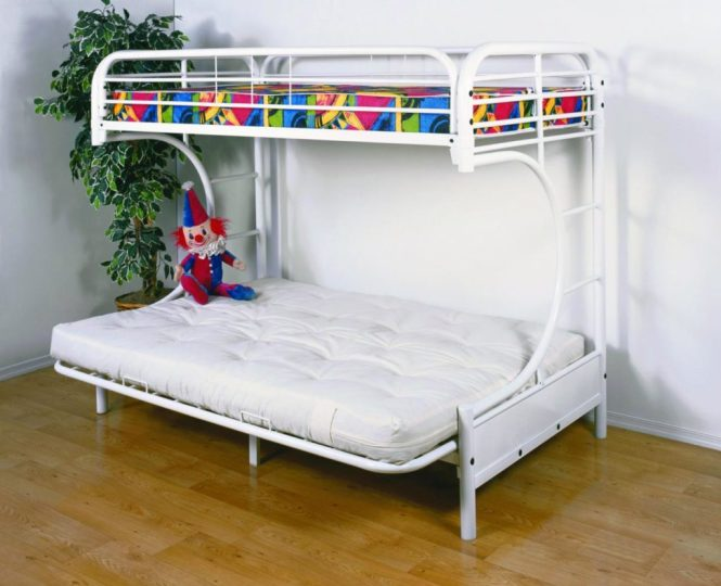 Twin Over Futon Bunk Bed With Mattress Included
