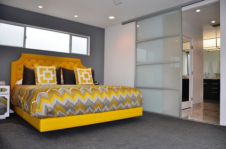 Modern Yellow and Grey Bedroom Decorating Ideas