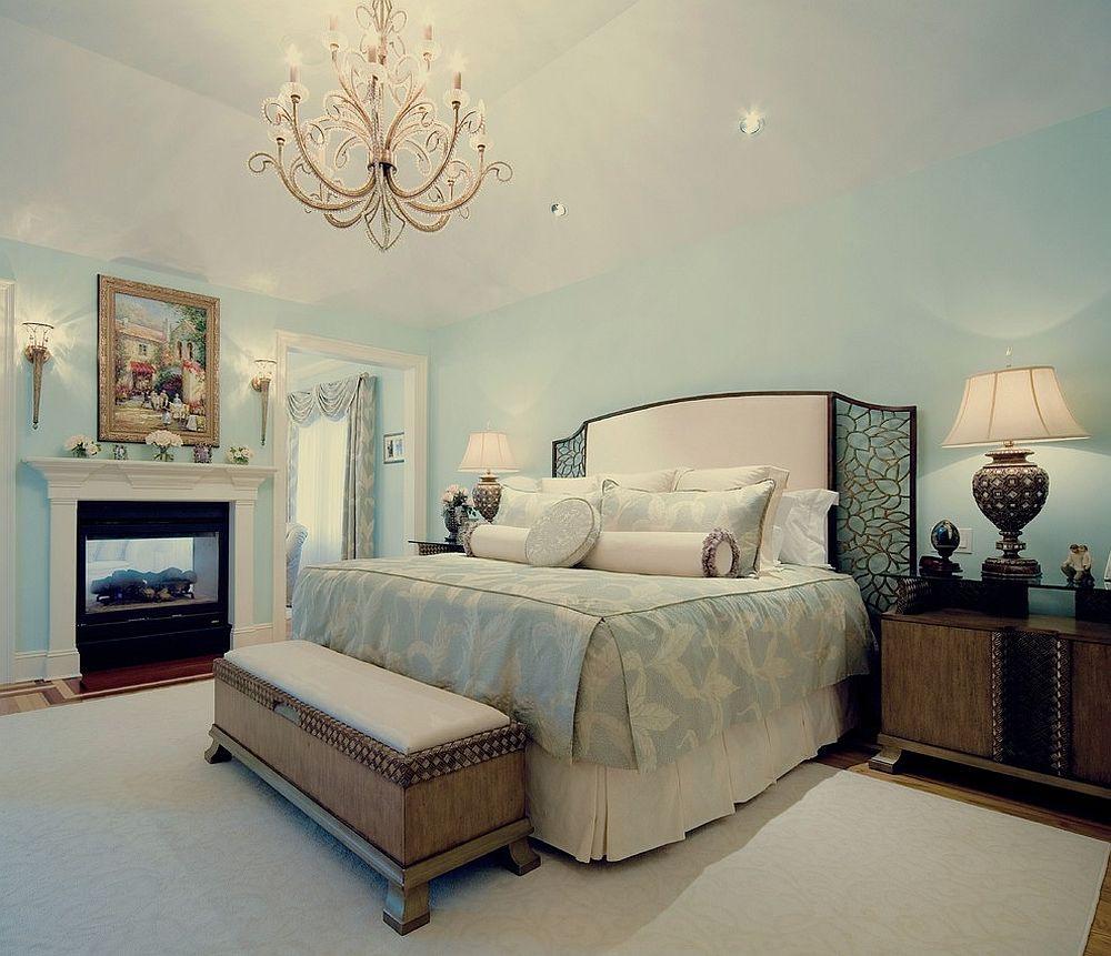 Stunning Light Blue and White Master Bedroom with Classic Chandelier Ideas
