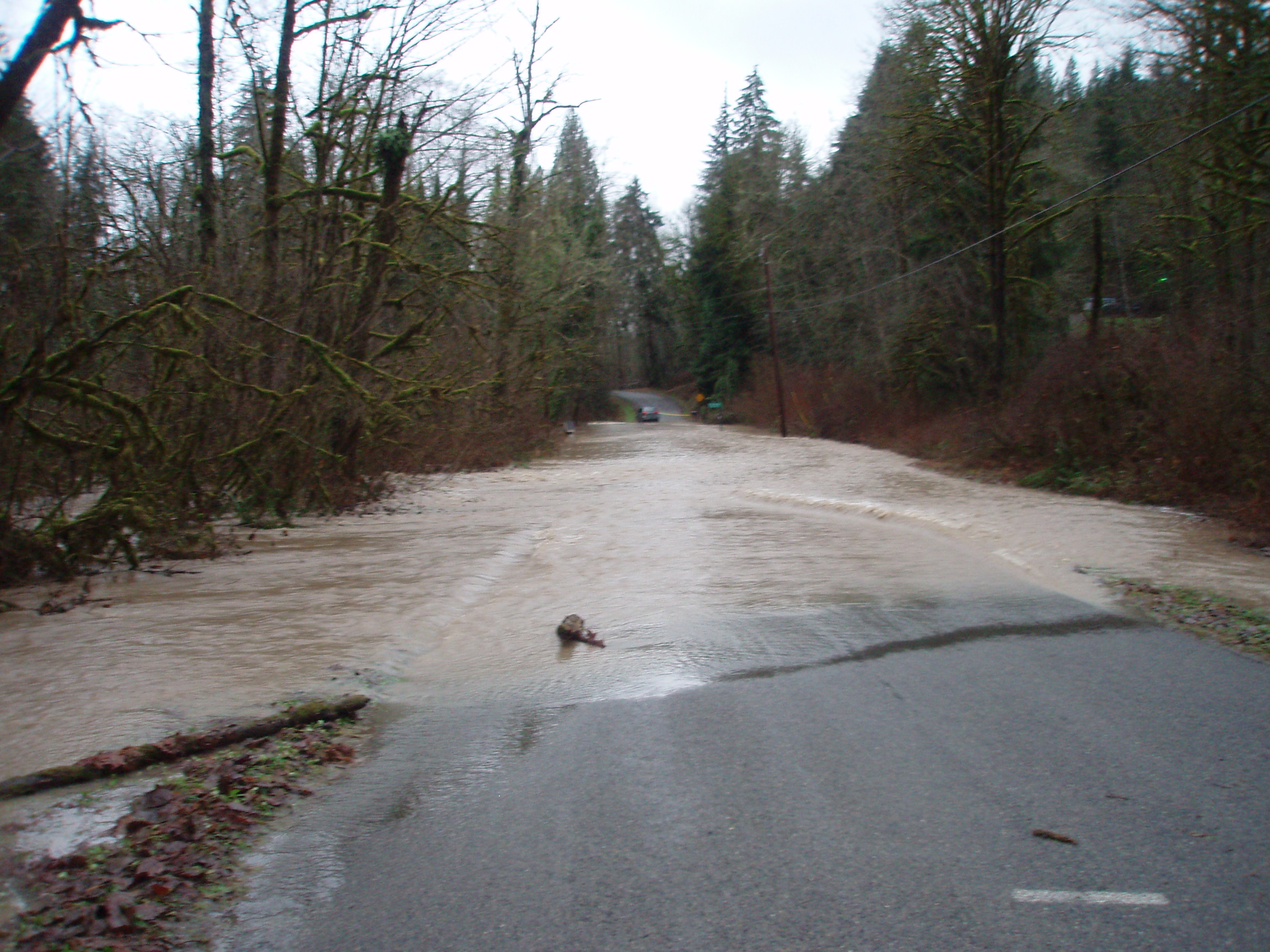 The road ahead is flooded.