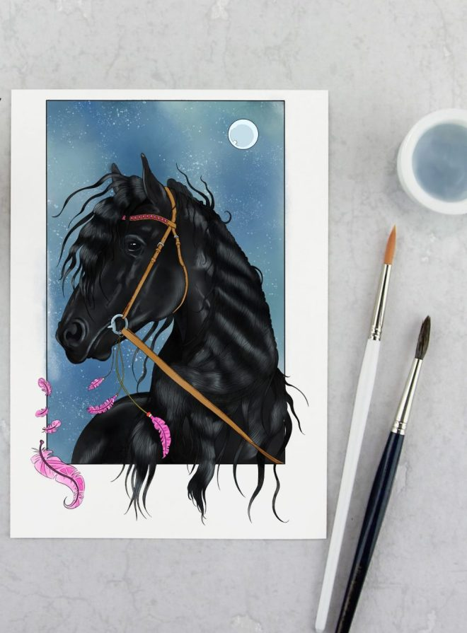 Free Friesian Horse Colouring Page