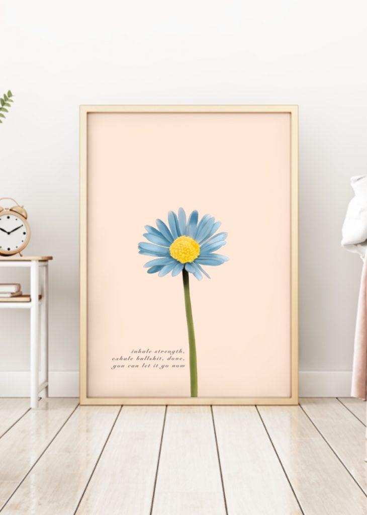Blue daisy floral art print