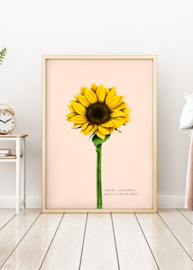 Floral sunflower art print