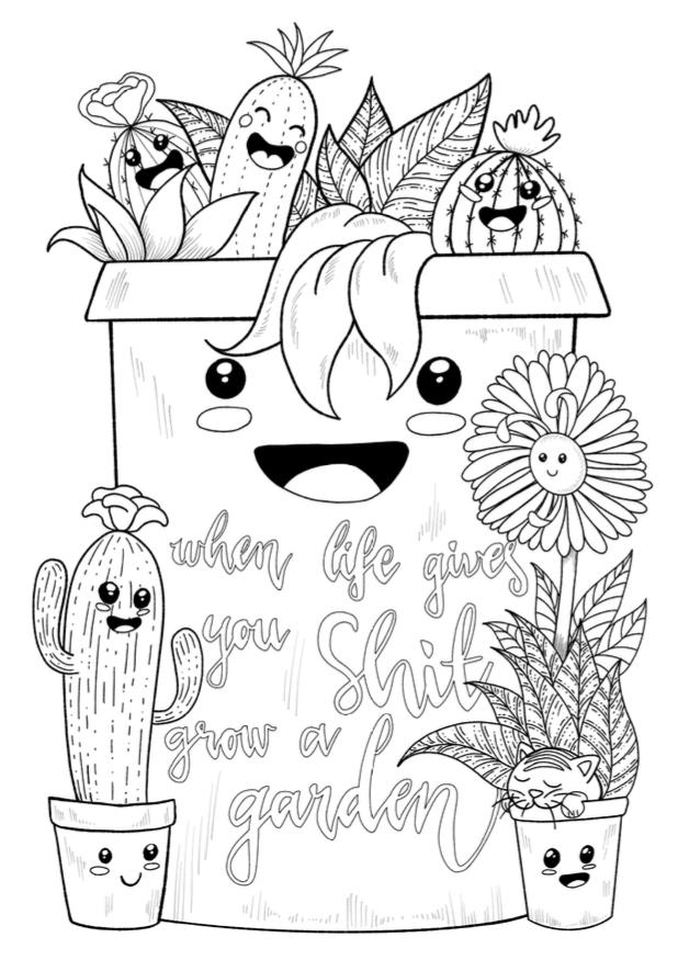 Free Kawaii Cactuses Coloring Page