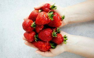 hands offering strawberries
