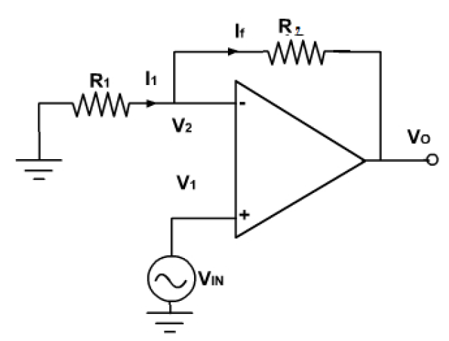 circuit diagram of non inverting amplifier home network wiring virtual labs dayalbagh educational institute agra theory figure 1 configuration op amp
