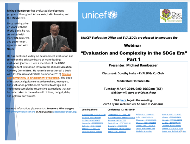 Webinar: Evaluation and Complexity in the SDGs Era