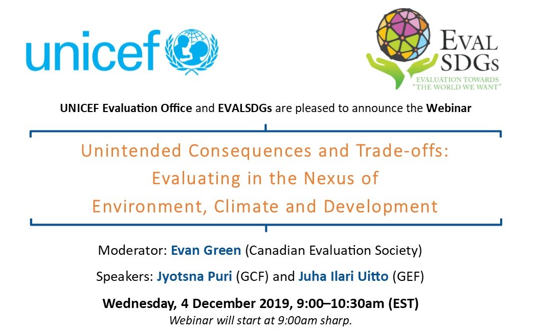 Webinar: Unintended Consequences and Trade-offs: Evaluating in the Nexus of Environment, Climate and Development