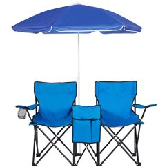 Folding Chair With Umbrella Paris Bistro Chairs Double W And Table Cooler Fold Up Beach Camping