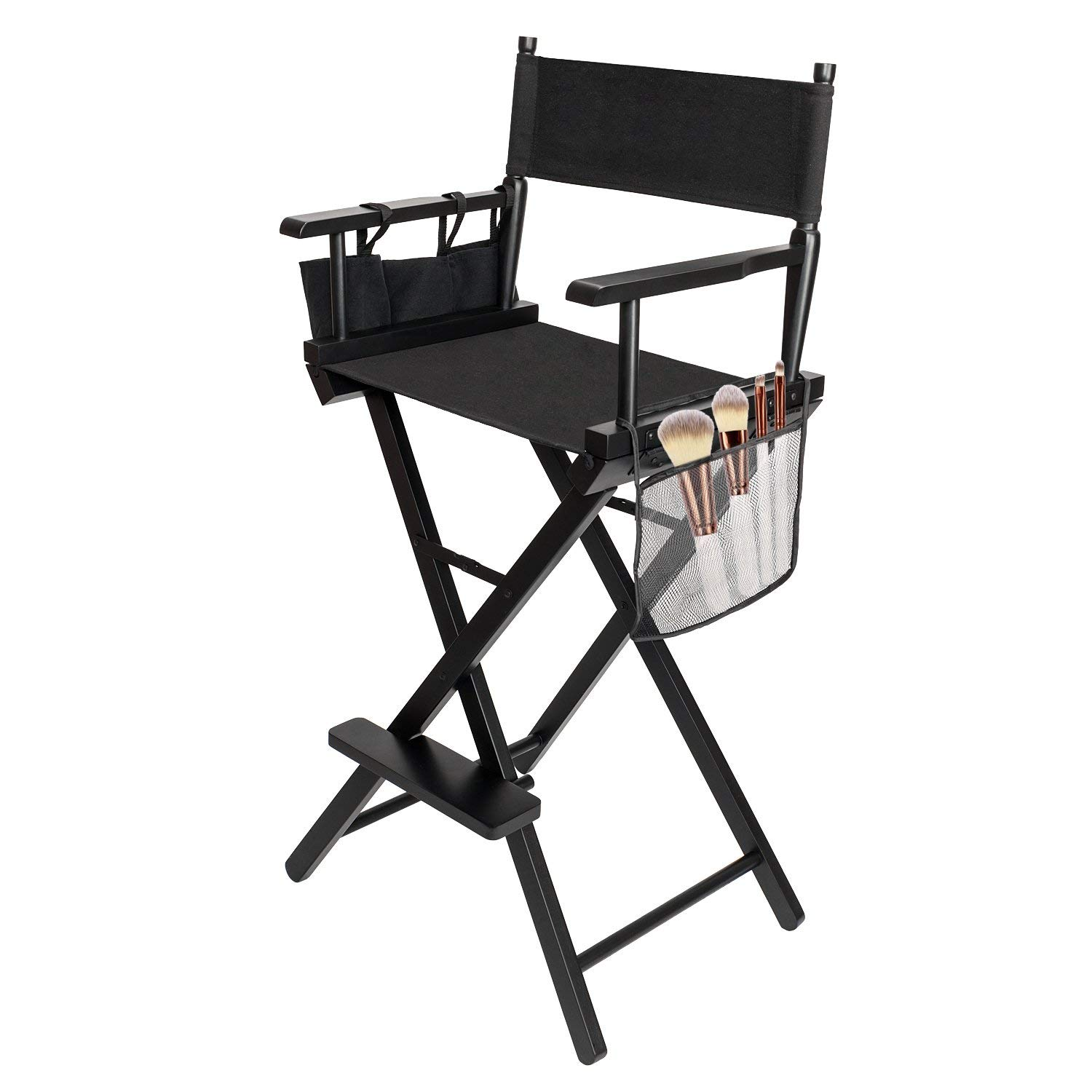 Black Directors Chair Details About Hot Directors Chair 30 Inch Canvas Tall Seat Black Wood Makeup Folding Chair