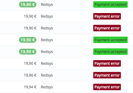 Prestashop redsys payment error