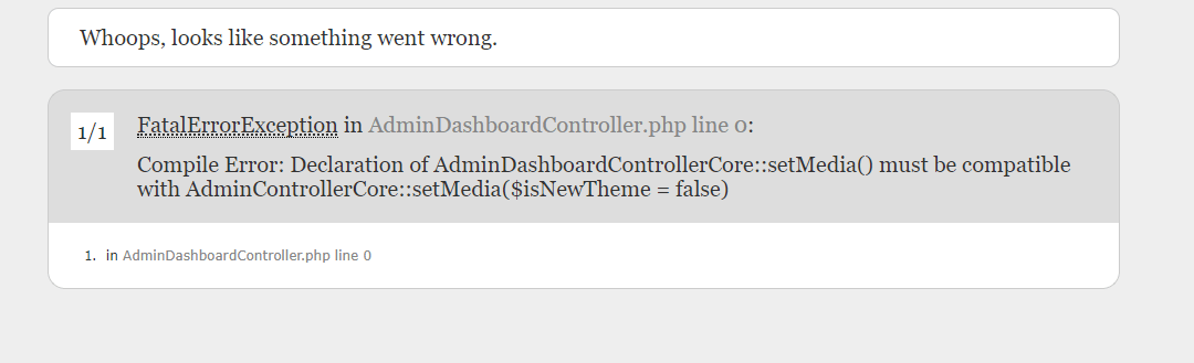 prestashop FatalErrorException in AdminDashboardController.php line 0