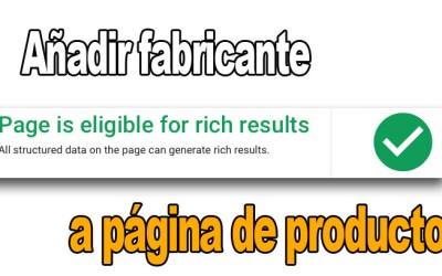 Añadir fabricante en página de productos en prestashop