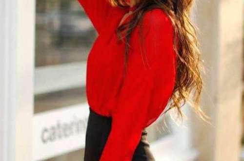 Jana con su blusa roja y pantalón de terciopelo negro