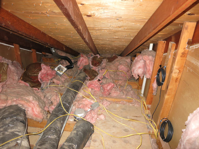 Attic prep part 5 insulation situation evan katelyn for Fiberglass insulation fire rating