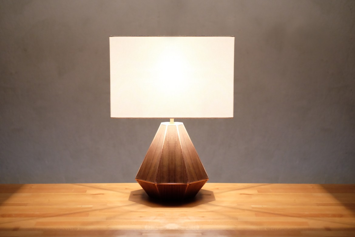 DIY 3D print and walnut lamp