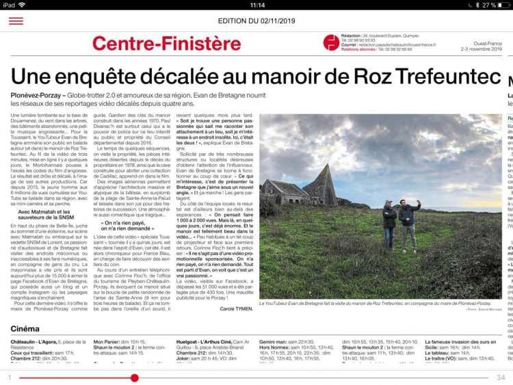 Ouest France Manoir Roz Trefeuntec Evan