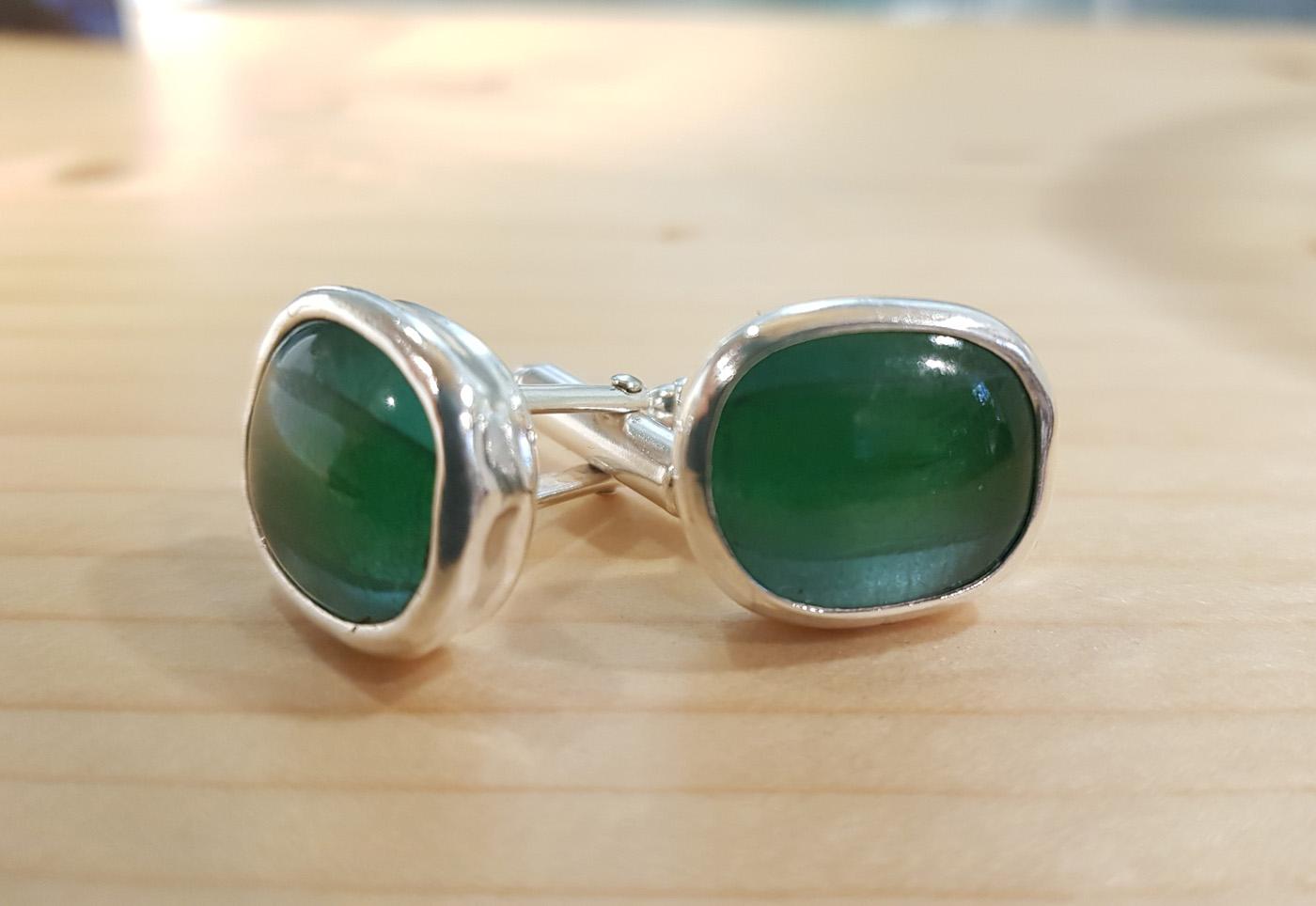 Jenia Gorfunkel - silver and glass cufflinks