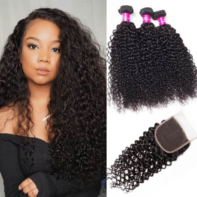 evan hair peruvian curly virgin hair weave with closure 10a 100% virgin human curly hair wave bundles with closure