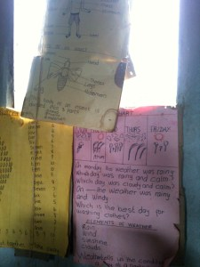 posters from a classroom in Meru South