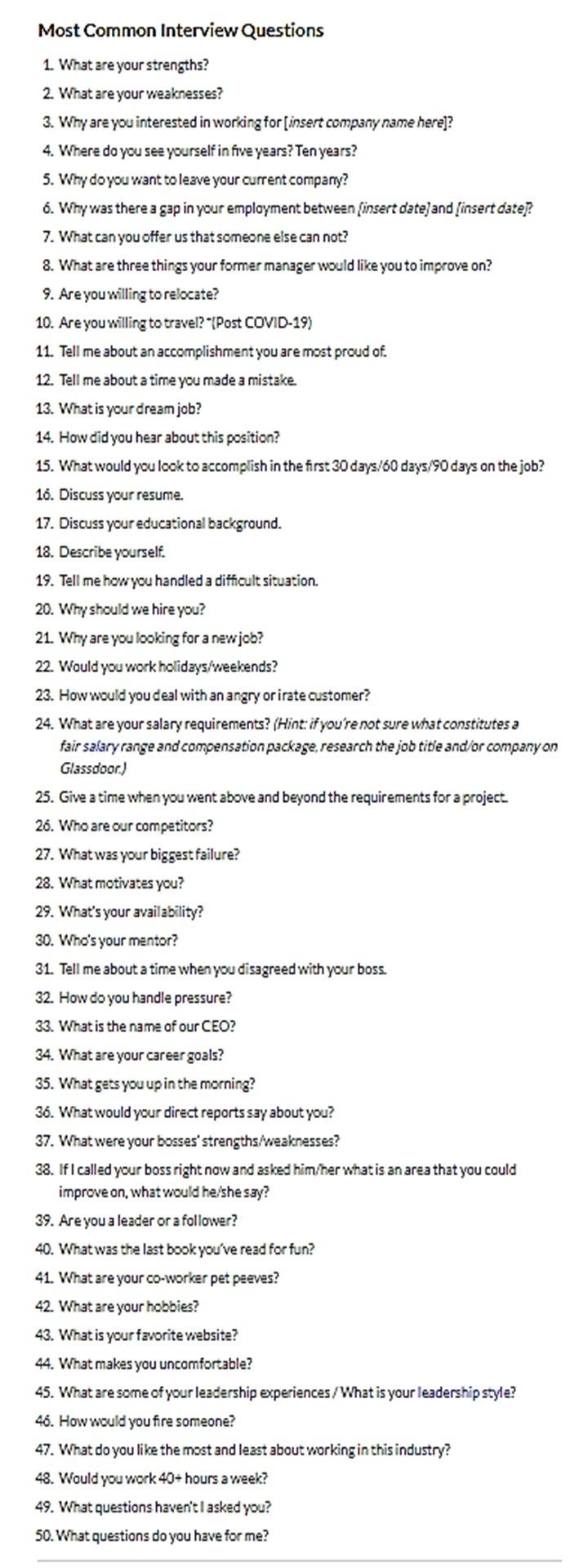 50 Interview Questions from Glassdoor