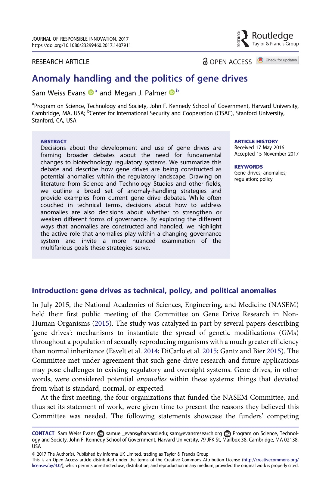 Anomaly Handling and the Politics of Gene Drives