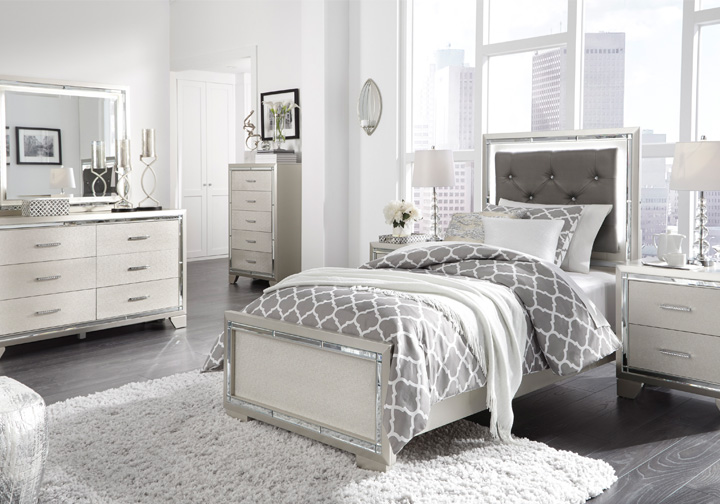 lonnix silver twin upholstered bedroom set
