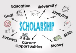 scholarship Concept. Chart with keywords and icons on gray background.