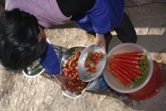Frutas de su propio huerto!! compramos fresas, ¡qué sabor!