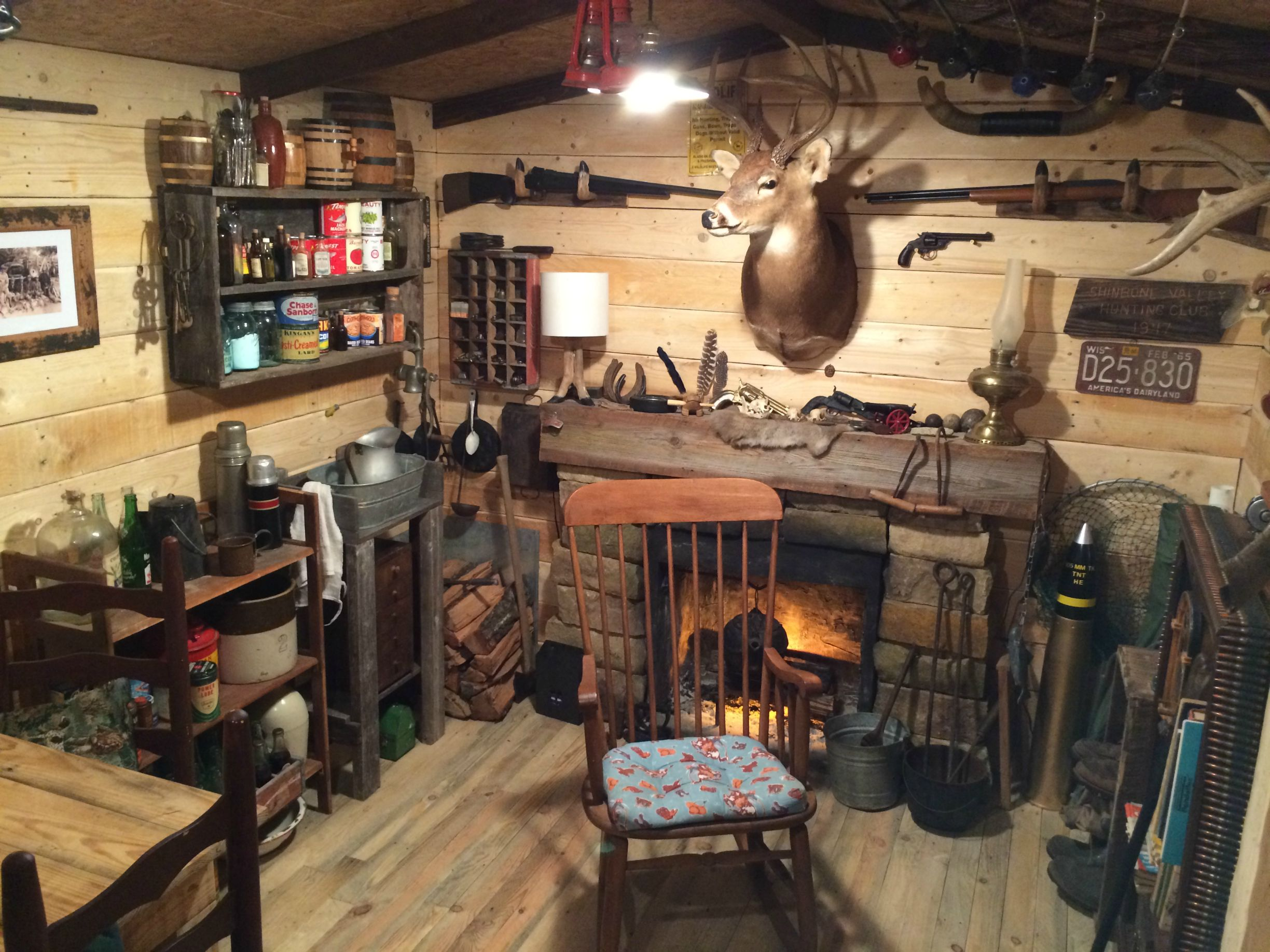 Man builds a rustic 1940s huntingfishing cabin style man cave for 107  Evasive Maneuvers