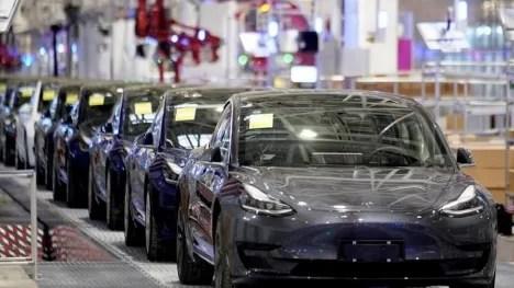 Tesla Model 3 production line.