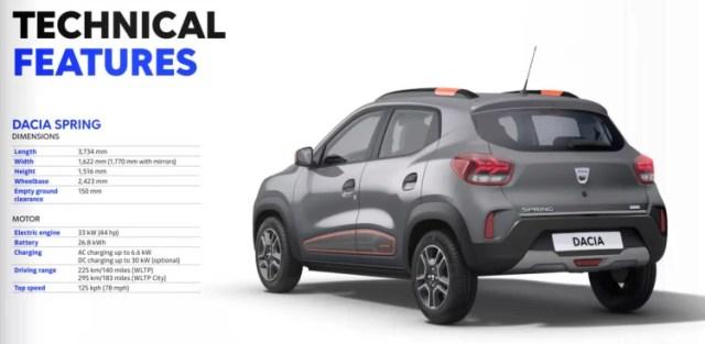 Dacia Spring Electric Features