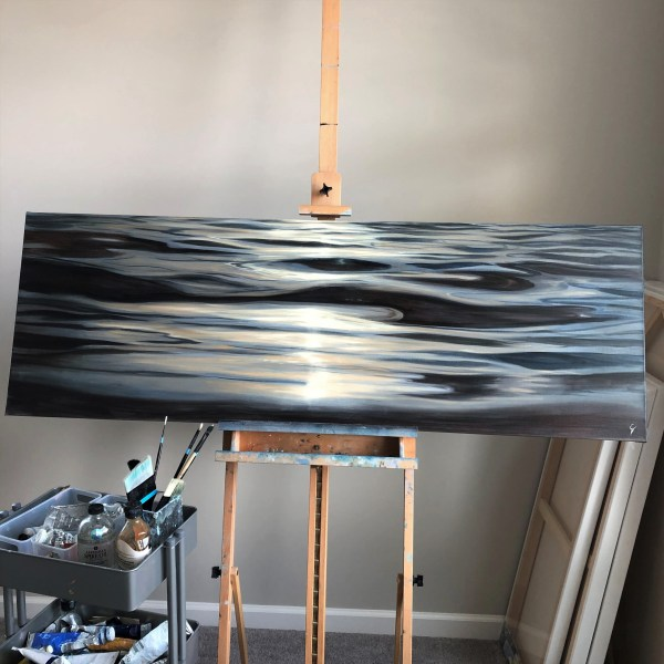 Extra large contemporary ocean waves painting - Liquid Silk