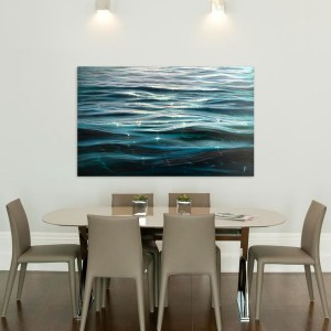 Large original ocean waves painting - dancing light