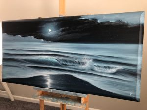 Original full moon over the ocean painting on canvas