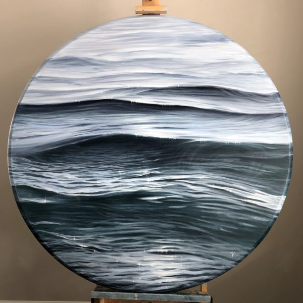 Original round black and white water painting