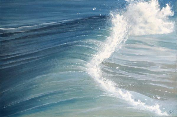 Blue Breaker - breaking wave painting