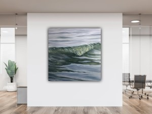 Large original seascape painting of ocean waves in South Florida, Lauderdale-by-the-Sea, on a beautiful tranquil morning