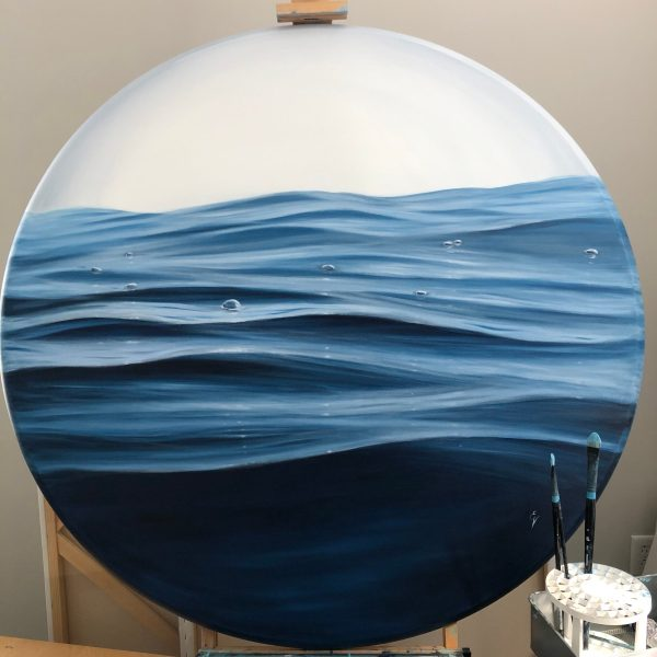 """A large original ocean waves painting """"Repose"""", oil on round canvas 46 inches (diameter)."""